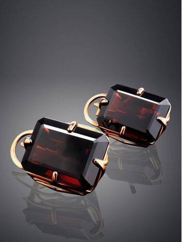 Geometric Golden Earrings With Synthetic Garnet, image , picture 2