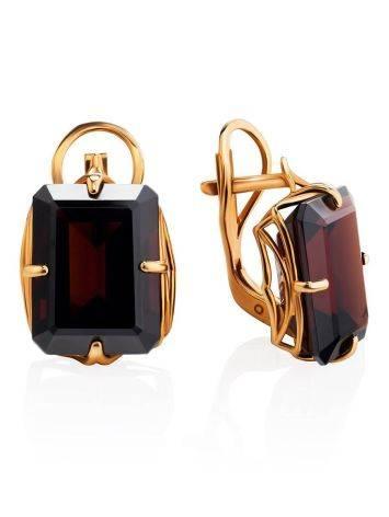 Geometric Golden Earrings With Synthetic Garnet, image