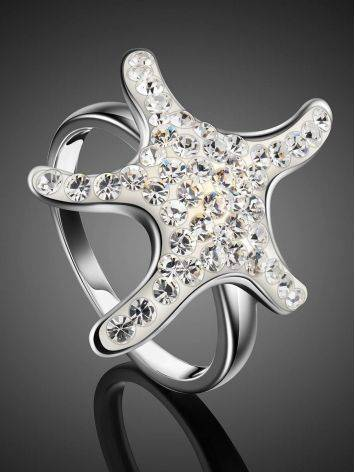 Silver Starfish Ring With Crystals The Jungle, Ring Size: 7 / 17.5, image , picture 2
