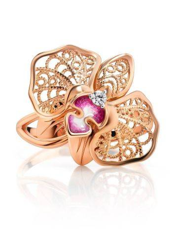 Golden Cocktail Ring With Crystals And Pink Enamel, Ring Size: 8.5 / 18.5, image , picture 3