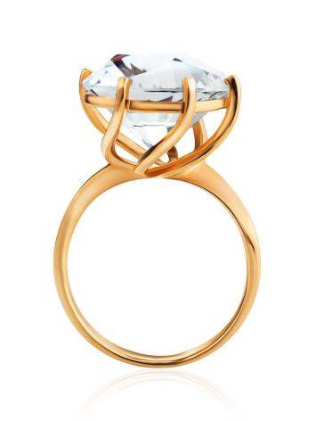 Golden Cocktail Ring With Bold White Crystal, Ring Size: 8.5 / 18.5, image , picture 3