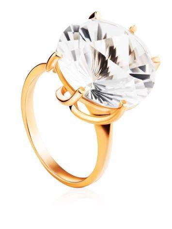 Golden Cocktail Ring With Bold White Crystal, Ring Size: 8.5 / 18.5, image