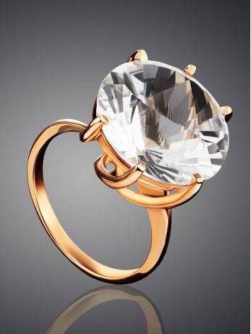 Golden Cocktail Ring With Bold White Crystal, Ring Size: 8.5 / 18.5, image , picture 2
