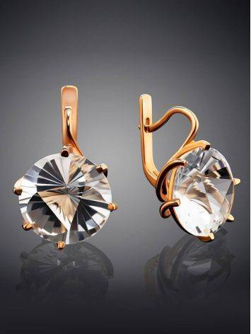 Golden Earrings With Bold White Crystals, image , picture 2