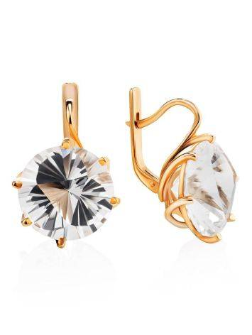 Golden Earrings With Bold White Crystals, image