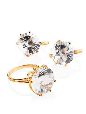 Golden Cocktail Ring With Bold White Crystal, Ring Size: 8.5 / 18.5, image , picture 5