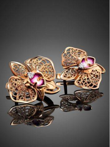 Golden Floral Earrings With Crystals And Pink Enamel, image , picture 2