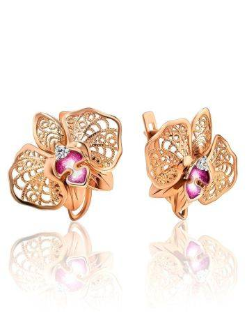 Golden Floral Earrings With Crystals And Pink Enamel, image