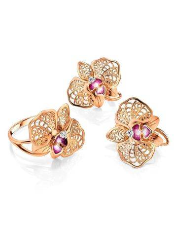 Golden Floral Earrings With Crystals And Pink Enamel, image , picture 3