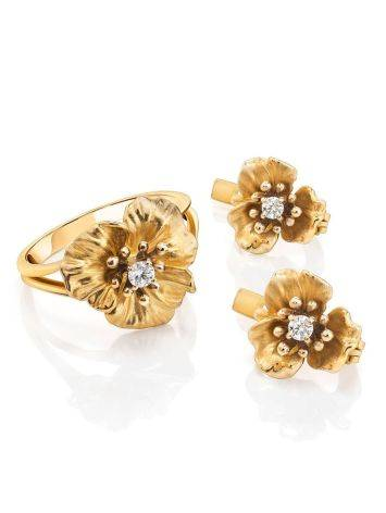 Golden Floral Ring With White Diamond, Ring Size: 7 / 17.5, image , picture 4