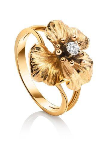 Golden Floral Ring With White Diamond, Ring Size: 7 / 17.5, image