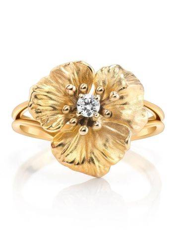 Golden Floral Ring With White Diamond, Ring Size: 7 / 17.5, image , picture 3