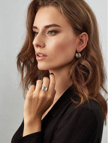 Golden Cocktail Ring With Bold White Crystal, Ring Size: 8.5 / 18.5, image , picture 4