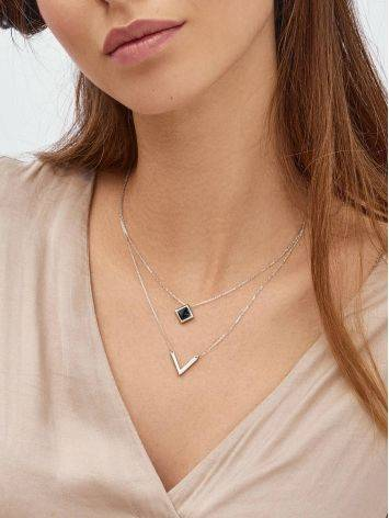 Silver Necklace With Two Geometric Pendants, image , picture 3