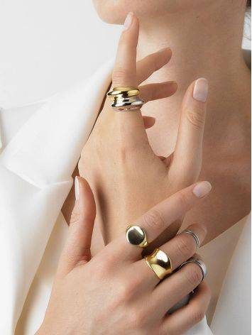 Futuristic and modern gold-plated silver ring, image , picture 4