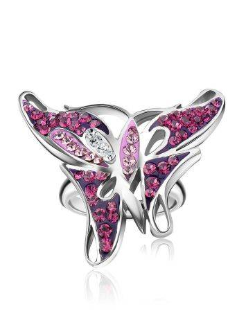 Silver Crystal Butterfly Cocktail Ring The Jungle, Ring Size: 5.5 / 16, image , picture 4