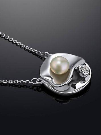 Adorable Silver Necklace With Cultured Pearl Pendant The Serene, image , picture 2