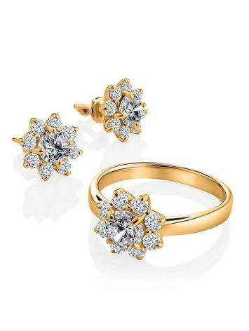 Classy Gold Plated Stud Earrings With Crystals, image , picture 3