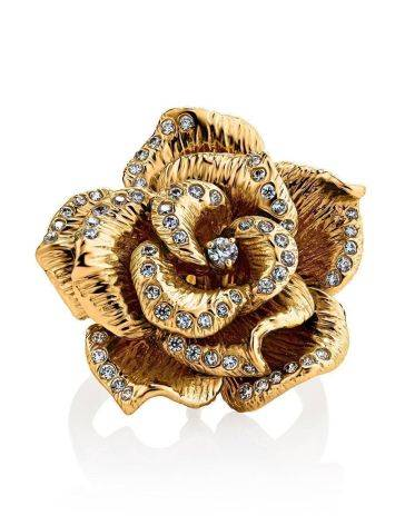 Bold Golden Transformer Ring With Crystals, Ring Size: 8 / 18, image , picture 6