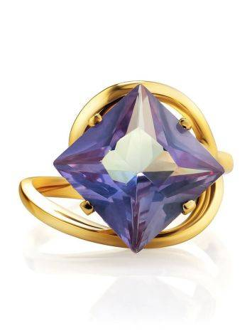 Bold Golden Ring With Synthetic Alexandrite, Ring Size: 7 / 17.5, image , picture 4