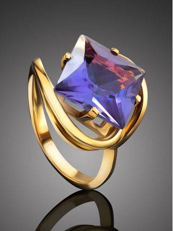 Bold Golden Ring With Synthetic Alexandrite, Ring Size: 7 / 17.5, image , picture 2