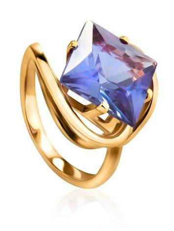 Bold Golden Ring With Synthetic Alexandrite, Ring Size: 7 / 17.5, image