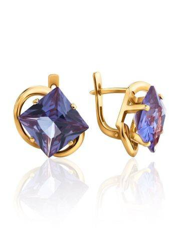 Bold Golden Earrings With Synthetic Alexandrite, image