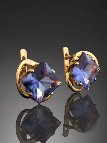 Bold Golden Earrings With Synthetic Alexandrite, image , picture 2
