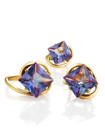 Bold Golden Earrings With Synthetic Alexandrite, image , picture 4
