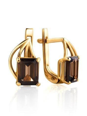 Elegant Golden Earrings With Smoky Quartz, image
