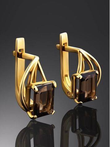 Elegant Golden Earrings With Smoky Quartz, image , picture 2