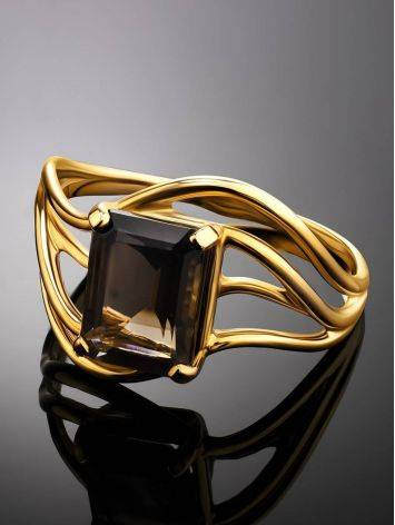 Chic Golden Ring With Smoky Quartz, Ring Size: 7 / 17.5, image , picture 2