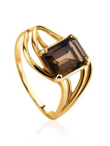 Chic Golden Ring With Smoky Quartz, Ring Size: 7 / 17.5, image