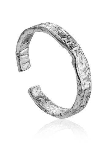 Contemporary crumbled texture one-size silver ring, image