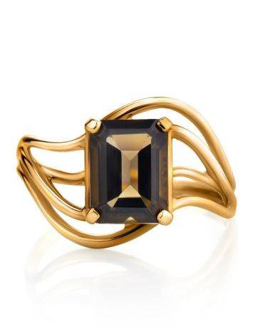Chic Golden Ring With Smoky Quartz, Ring Size: 7 / 17.5, image , picture 4