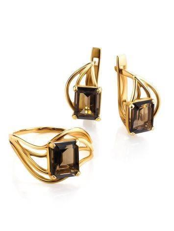 Elegant Golden Earrings With Smoky Quartz, image , picture 4