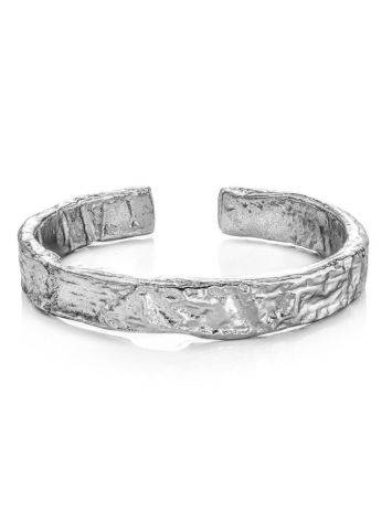 Contemporary crumbled texture one-size silver ring, image , picture 3