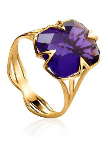 Golden Cocktail Ring With Bright Amethyst, Ring Size: 7 / 17.5, image