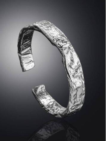 Contemporary crumbled texture one-size silver ring, image , picture 2