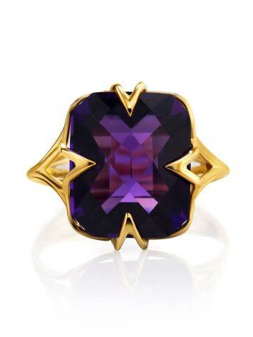 Golden Cocktail Ring With Bright Amethyst, Ring Size: 7 / 17.5, image , picture 4