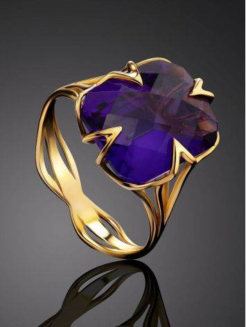 Golden Cocktail Ring With Bright Amethyst, Ring Size: 7 / 17.5, image , picture 2