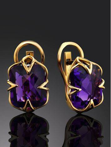 Golden Earrings With Bright Amethyst Centerpieces, image , picture 2