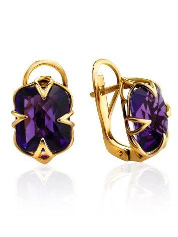 Golden Earrings With Bright Amethyst Centerpieces, image
