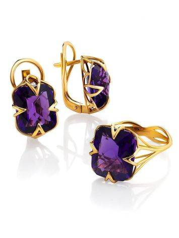 Golden Earrings With Bright Amethyst Centerpieces, image , picture 4