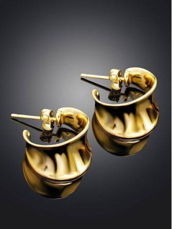 Gold-plated sterling silver creole stud hoop earrings, image , picture 2