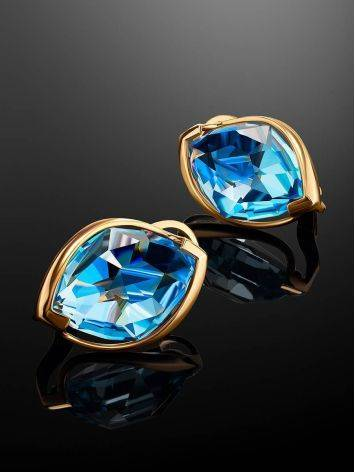 Bold Golden Earrings With Light Blue Topaz, image , picture 2