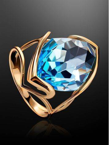 Golden Cocktail Ring With Light Blue Topaz, Ring Size: 7 / 17.5, image , picture 2