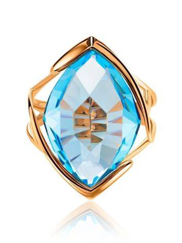 Golden Cocktail Ring With Light Blue Topaz, Ring Size: 7 / 17.5, image , picture 3