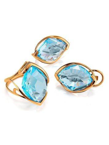 Bold Golden Earrings With Light Blue Topaz, image , picture 3