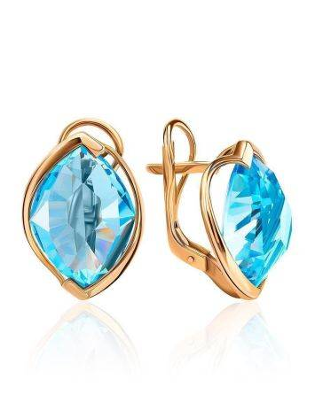Bold Golden Earrings With Light Blue Topaz, image